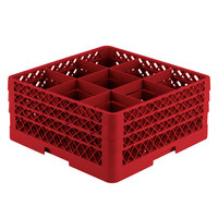 Vollrath TR10FFA Traex® Full-Size Red 9-Compartment 7 7/8 inch Glass Rack with Open Rack Extender On Top