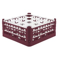 Vollrath 52769 Signature Full-Size Burgundy 16-Compartment 7 11/16 inch X-Tall Plus Glass Rack
