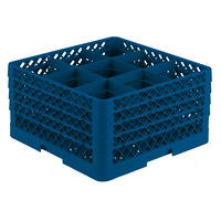 Vollrath TR10FFFA Traex® Full-Size Royal Blue 9-Compartment 9 7/16 inch Glass Rack with Open Rack Extender On Top