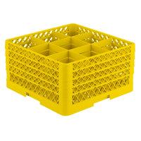 Vollrath TR10FFFF Traex® Full-Size Yellow 9-Compartment 9 7/16 inch Glass Rack