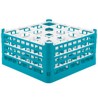 Vollrath 52770 Signature Full-Size Light Blue 16-Compartment 9 1/16 inch XX-Tall Plus Glass Rack