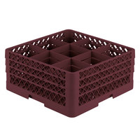 Vollrath TR10FFF Traex® Full-Size Burgundy 9-Compartment 7 7/8 inch Glass Rack
