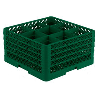 Vollrath TR10FFFA Traex Full-Size Green 9-Compartment 9 7/16 inch Glass Rack with Open Rack Extender On Top