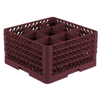 Vollrath TR10FFFA Traex Full-Size Burgundy 9-Compartment 9 7/16 inch Glass Rack with Open Rack Extender On Top