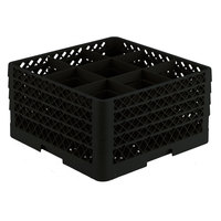 Vollrath TR10FFFA Traex® Full-Size Black 9-Compartment 9 7/16 inch Glass Rack with Open Rack Extender On Top