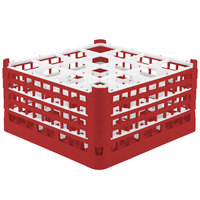 Vollrath 52770 Signature Full-Size Red 16-Compartment 9 1/16 inch XX-Tall Plus Glass Rack