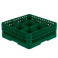 Vollrath TR10FF Traex® Full-Size Green 9-Compartment 6 3/8 inch Glass Rack