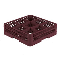 Vollrath TR10A Traex® Full-Size Burgundy 9-Compartment 4 13/16 inch Glass Rack with Open Rack Extender On Top
