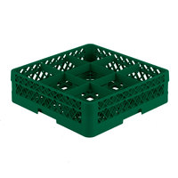 Vollrath TR10A Traex® Full-Size Green 9-Compartment 4 13/16 inch Glass Rack with Open Rack Extender On Top