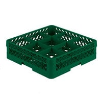 Vollrath TR10A Traex Full-Size Green 9-Compartment 4 13/16 inch Glass Rack with Open Rack Extender On Top