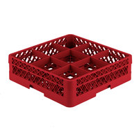 Vollrath TR10A Traex® Full-Size Red 9-Compartment 4 13/16 inch Glass Rack with Open Rack Extender On Top