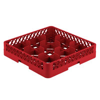 Vollrath TR10 Traex® Full-Size Red 9-Compartment 3 1/4 inch Glass Rack