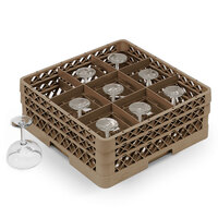 Vollrath TR13FF Traex Full-Size Beige 9-Compartment 3 9/16 inch Glass Rack