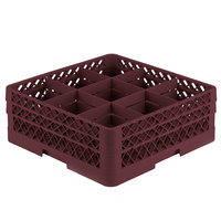 Vollrath TR10FA Traex® Full-Size Burgundy 9-Compartment 6 3/8 inch Glass Rack with Open Rack Extender On Top