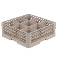 Vollrath TR10FF Traex® Full-Size Beige 9-Compartment 6 3/8 inch Glass Rack