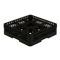 Vollrath TR10A Traex Full-Size Black 9-Compartment 4 13/16 inch Glass Rack with Open Rack Extender On Top