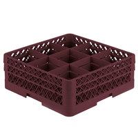 Vollrath TR10FF Traex® Full-Size Burgundy 9-Compartment 6 3/8 inch Glass Rack