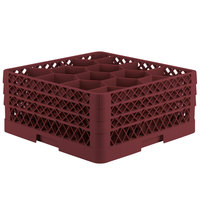Vollrath TR18JJJ Traex® Rack Max Full-Size Burgundy 12-Compartment 7 7/8 inch Glass Rack