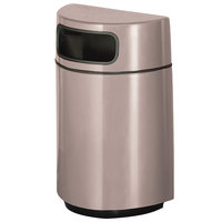 Rubbermaid FGH2436 Half Round Open Front Greige Fiberglass Waste Receptacle with Rigid Plastic Liner 18 Gallon (FGFGH2436PLGE)