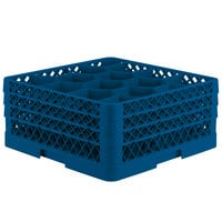 Vollrath TR18JJJ Traex® Rack Max Full-Size Royal Blue 12-Compartment 7 7/8 inch Glass Rack