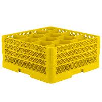 Vollrath TR18JJJ Traex® Rack Max Full-Size Yellow 12-Compartment 7 7/8 inch Glass Rack
