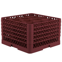 Vollrath TR18JJJJA Traex Rack Max Full-Size Burgundy 12-Compartment 11 inch Glass Rack with Open Rack Extender On Top