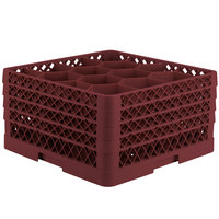 Vollrath TR18JJJA Traex® Rack Max Full-Size Burgundy 12-Compartment 9 7/16 inch Glass Rack with Open Rack Extender On Top