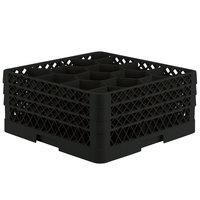 Vollrath TR18JJJ Traex® Rack Max Full-Size Black 12-Compartment 7 7/8 inch Glass Rack