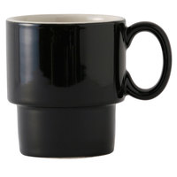 Tuxton B4M-1003 DuraTux 10 oz. Black / Ivory (American White) Stackable China Mug - 24/Case
