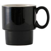 Tuxton B4M-1003 DuraTux 10 oz. Black / Eggshell Stackable China Mug - 24/Case