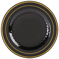 Fineline Silver Splendor 506-BKG 6 inch Black Plastic Plate with Gold Bands - 15/Pack
