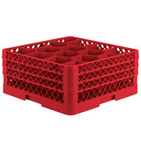 Vollrath TR18JJJ Traex® Rack Max Full-Size Red 12-Compartment 7 7/8 inch Glass Rack
