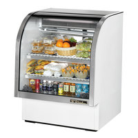 True TCGG-36-LD 36 inch White Curved Glass Refrigerated Deli Case With Stainless Steel Top and Trim - 17 Cu. Ft.
