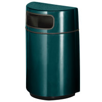 Rubbermaid FGH2436 Half Round Open Front Hunter Green Fiberglass Waste Receptacle with Rigid Plastic Liner 18 Gallon (FGFGH2436PLHGN)