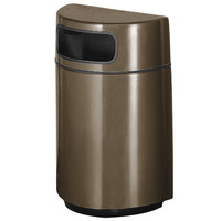 Rubbermaid FGH2436 Half Round Open Front Bronze Fiberglass Waste Receptacle with Rigid Plastic Liner 18 Gallon (FGFGH2436PLBZ)