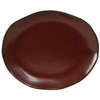 Tuxton GAR-023 Artisan Red Rock 13 1/4 inch x 11 inch China Platter - 12/Case