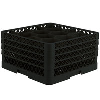 Vollrath TR18JJJA Traex® Rack Max Full-Size Black 12-Compartment 9 7/16 inch Glass Rack with Open Rack Extender On Top