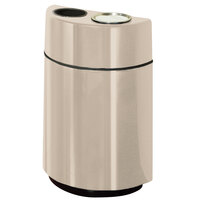 Rubbermaid FGH2436SUT Half Rounds Open-Top Warm Brown Fiberglass Waste Receptacle with Rigid Plastic Liner and Sand Urn Cap Ash Tray 24 Gallon (FGFGH2436SUTPLWMB)