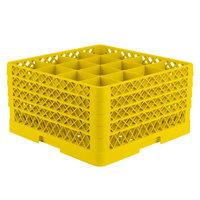Vollrath TR8DDDD-08 Traex® Full-Size Yellow 16-Compartment 11 inch Glass Rack