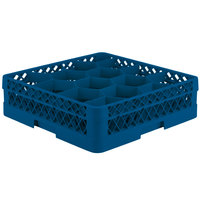 Vollrath TR18A Traex Rack Max Full-Size Royal Blue 12-Compartment 4 13/16 inch Glass Rack with Open Rack Extender On Top