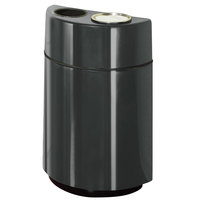 Rubbermaid FGH2436SUT Half Rounds Open-Top Charcoal Fiberglass Waste Receptacle with Rigid Plastic Liner and Sand Urn Cap Ash Tray 24 Gallon (FGFGH2436SUTPLCH)
