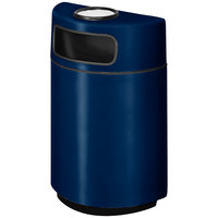 Rubbermaid FGH2436SU Half Round Open Front Navy Blue Fiberglass Waste Receptacle with Rigid Plastic Liner and Sand Urn Cap Ash Tray 18 Gallon (FGFGH2436SUPLNBL)
