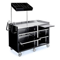 Lakeside 68010 4 Shelf Stainless Steel Vending Cart with Pull-Out Shelves and Black Laminate Finish - 27 1/2 inch x 60 inch x 70 inch
