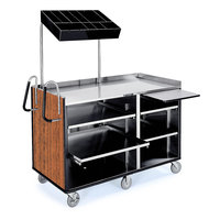 Lakeside 68010 4 Shelf Stainless Steel Vending Cart with Pull-Out Shelves and Victorian Cherry Laminate Finish - 27 1/2 inch x 60 inch x 70 inch