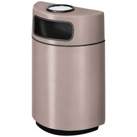 Rubbermaid FGH2436SU Half Round Open Front Greige Fiberglass Waste Receptacle with Rigid Plastic Liner and Sand Urn Cap Ash Tray 18 Gallon (FGFGH2436SUPLGE)