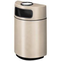 Rubbermaid FGH2436SU Half Round Open Front Warm Brown Fiberglass Waste Receptacle with Rigid Plastic Liner and Sand Urn Cap Ash Tray 18 Gallon (FGFGH2436SUPLWMB)