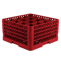 Vollrath TR8DDDD-02 Traex® Full-Size Red 16-Compartment 11 inch Glass Rack