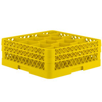 Vollrath TR18JJ Traex Rack Max Full-Size Yellow 12-Compartment 6 3/8 inch Glass Rack
