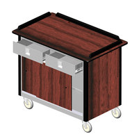Lakeside 69020 Stainless Steel Beverage Service Cart with 2 Utility Drawers and Red Maple Laminate Finish - 26 inch x 44 1/2 inch x 37 3/4 inch