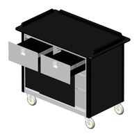 Lakeside 69040 Stainless Steel Beverage Service Cart with 2 Drawers and Black Laminate Finish - 26 inch x 44 1/2 inch x 37 3/4 inch
